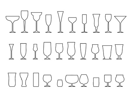 martini glass: Glass collection - vector silhouette isolated on white background.