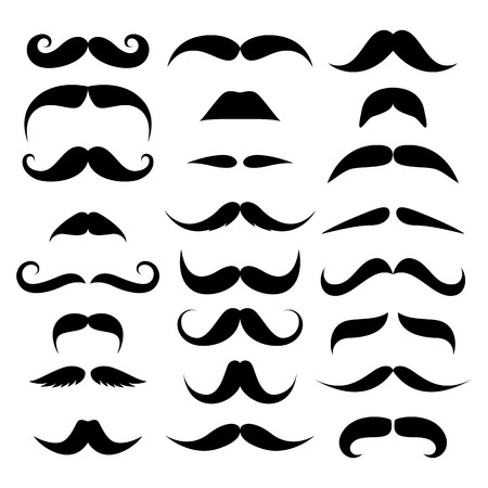 Huge set of vector mustache isolated on white background. Illustration