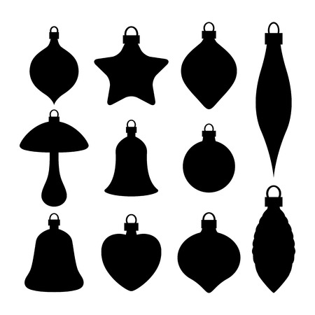 A set of Christmas baubles silhouettes isolated on white background.