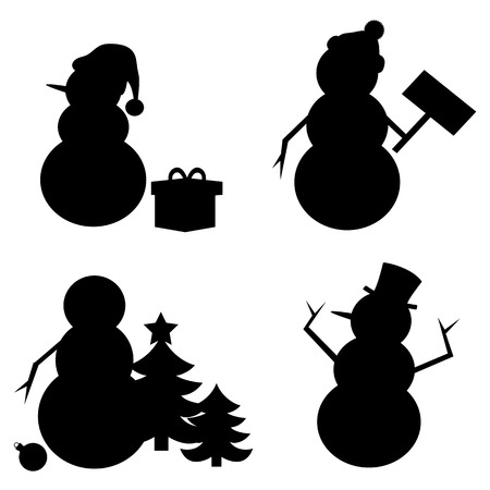 tophat: Snowman Silhouette isolated on white background.