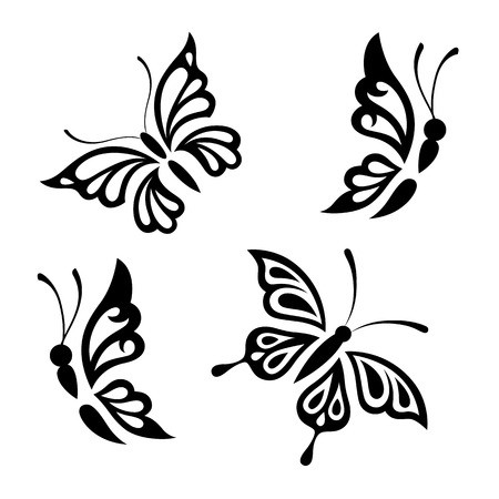 Collection black and white butterflies for design isolated on white background. Vector. Çizim