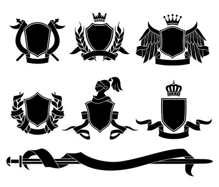 Conjunto de diversos emblemas heráldicos negros. Ilustración del vector.