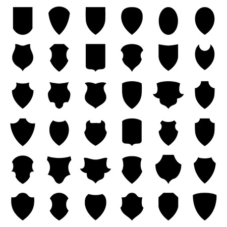 Shield icons or silhouettes isolated on white background. Vector. Иллюстрация
