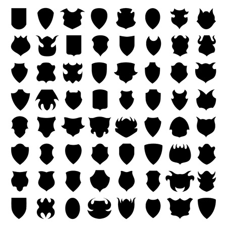 Shield icons or silhouettes isolated on white background. Vector. Vector