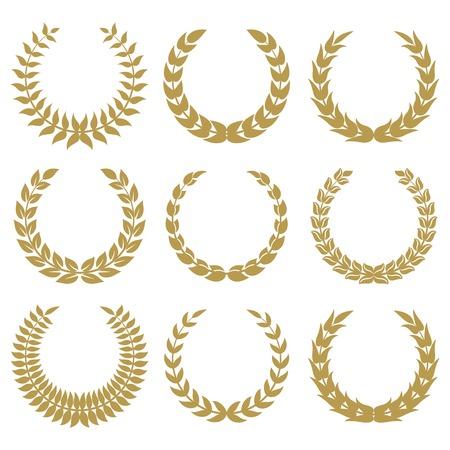 metalic design: laurel wreaths 1 isolated on white backgrounds. Illustration