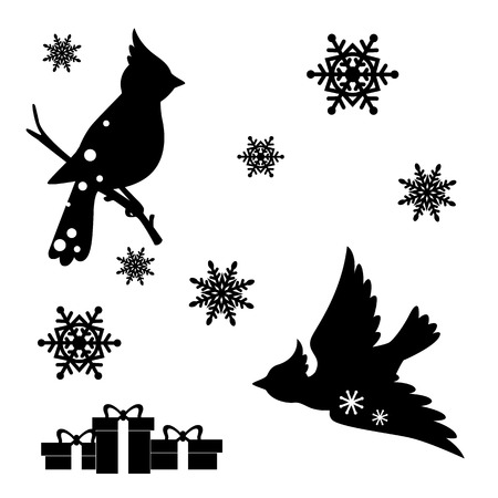 Christmas decoration set. Collection of Christmas design elements isolated on White background. Vector illustration Vector