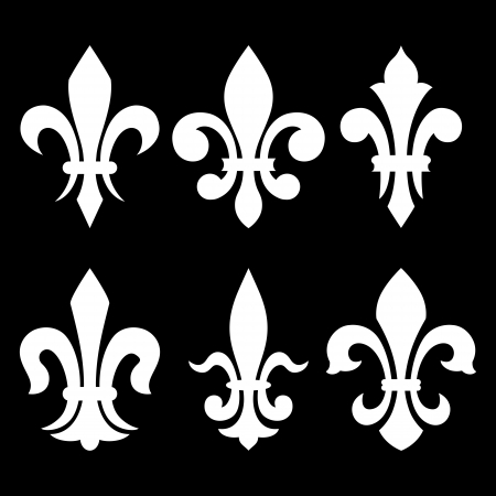 royal french lily symbols: Lily flower -(heraldic symbol fleur de lis). Vector image.