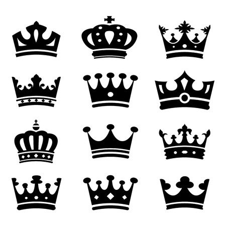 aristocracy: Crown silhouette collection. Vector.