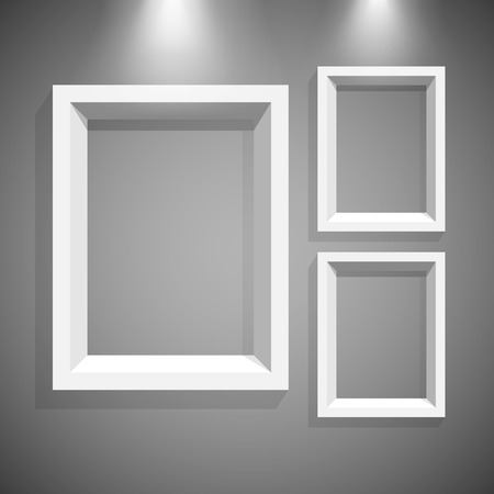 White modern frames on the wall, vector illustration. Vector