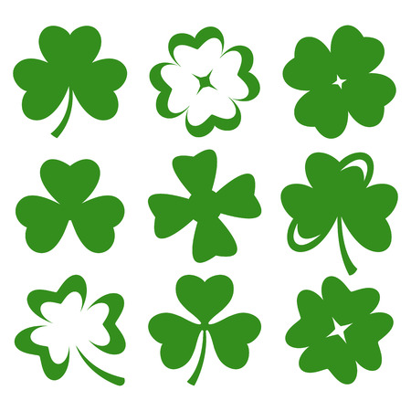 four objects: Shamrock green silhouette leaves isolated on white  Vector
