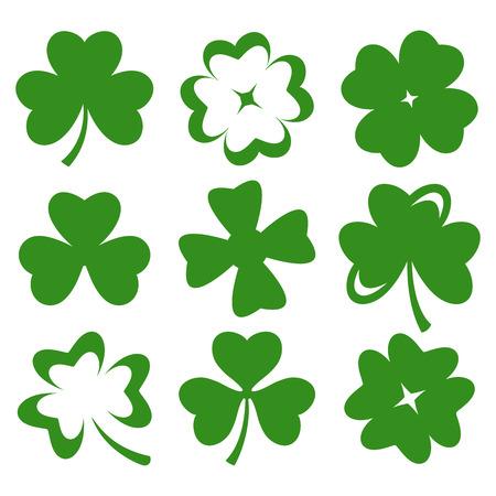 cuatro elementos: Shamrock silueta hojas verdes aisladas en blanco Vector Vectores