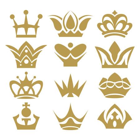 クラウン コレクション クラウン セット、シルエットの王冠  イラスト・ベクター素材