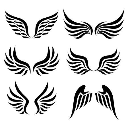 silueta de angel: alas conjunto de vectores Vectores