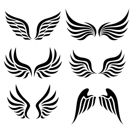 engel tattoo: Fl�gel gesetzt Vektor Illustration