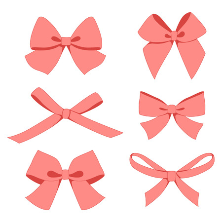 pink bow: Set of vintage bows. Vector. Illustration