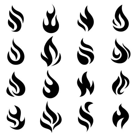 Fire flames, set icons, vector illustration Illustration