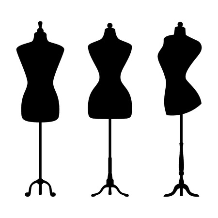tailor shop: Vintage mannequins. Vector.