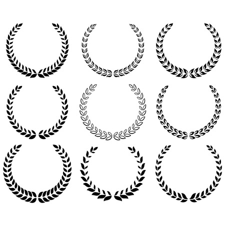 Black laurel wreaths on the white background. Vector.