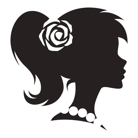 cameo: Vintage cameo woman silhouette. Vector.