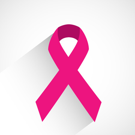 Cancer awareness ribbon vector icon or background with long shadow Vector