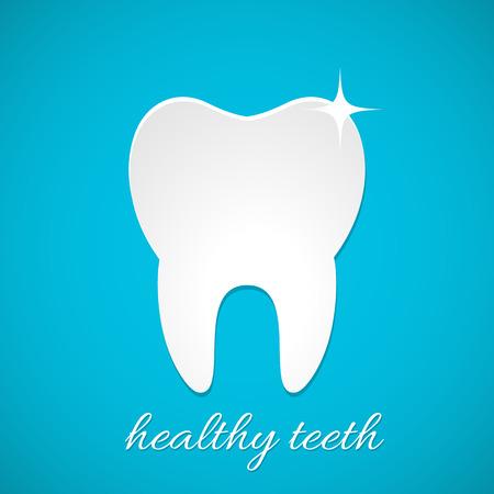 dientes caricatura: Saludable icono vector diente