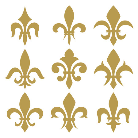 fleur of lis: fleur de lis set. Vector isolated images.