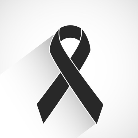 Cancer awareness ribbon vector icon or background with long shadow Illustration