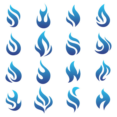 Fire flames blue, set icons, vector illustration Vector