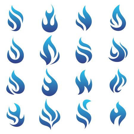 blue flame: Fire flames blue, set icons, vector illustration