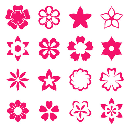 Illustration flowers icons, spring and valentines day, vector illustration Vector