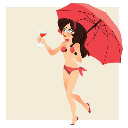sexy bikini girl: Retro beach background. Vector illustration.