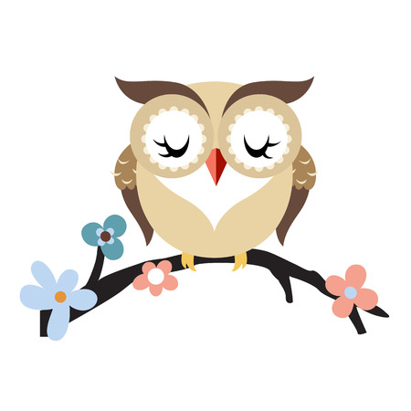 Cartoon owl on a flowering tree branch. Vector illustration isolated on white background. Vector