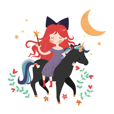 Whimsical girl on black unicorn. Template for card or invitation. Vector illustration isolated on white background. Vector