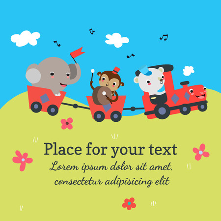 Cartoon train with animals background template with place for your text. Vector illustration. Vector