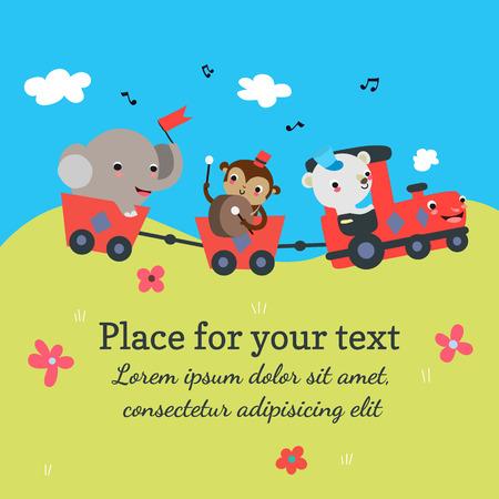 treno espresso: Cartoon treno con template animali sfondo con il posto per il vostro testo. Illustrazione vettoriale.