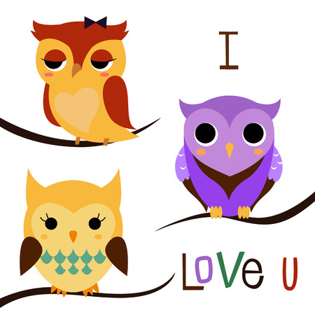 animal behavior: Cartoon owls on a tree branch  Vector illustration isolated on white background