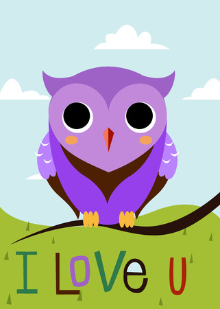 Cartoon owl on a tree branch card. Vector. Vector