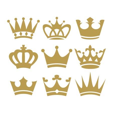 corona reina: Iconos de la corona. ilustración aislado sobre fondo blanco. Vector.