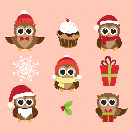 christmas owl: Christmas and New Years owls in funny costumes