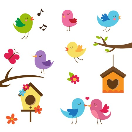 ¡rboles con pajaros: Pájaros lindos. Elementos del diseño.