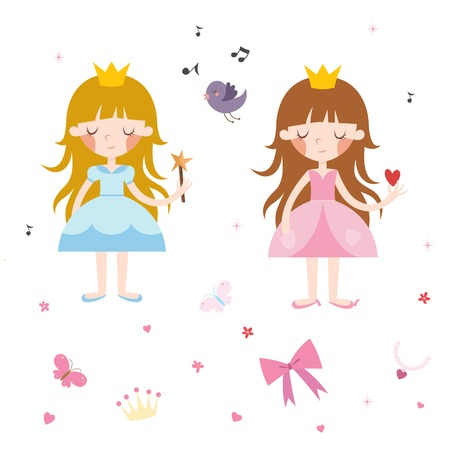 cinderella dress: Vector Collection of Pretty Princesses Illustration