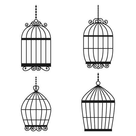 jail bird: Silhouette birdcages collection set.