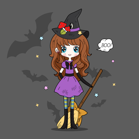 whimsy: Adorable little witch. Halloween Illustration