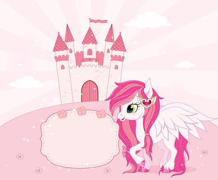 pony: Fairy tale theme background or template with place for text. Vector.
