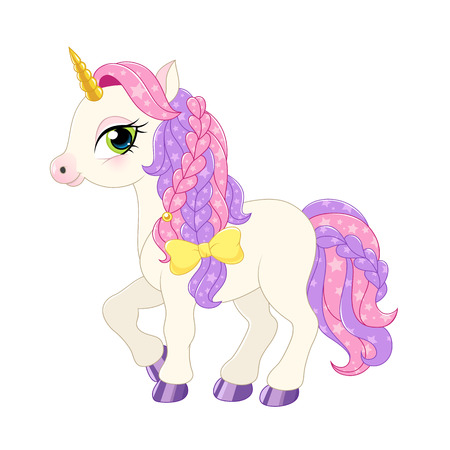 girl drawing: lllustration of a pink pony on a white background. Vector.