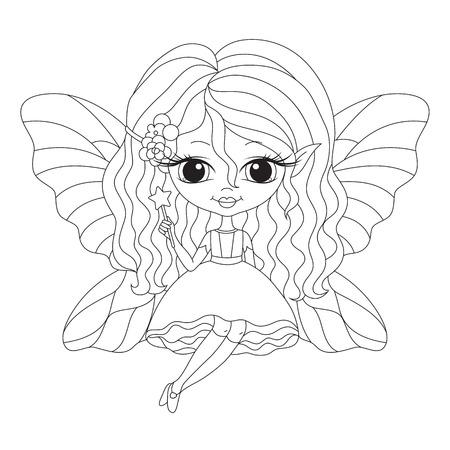 lijntekening: Geschetst illustratie van een schattig fee. Vector kleurplaat. Stock Illustratie