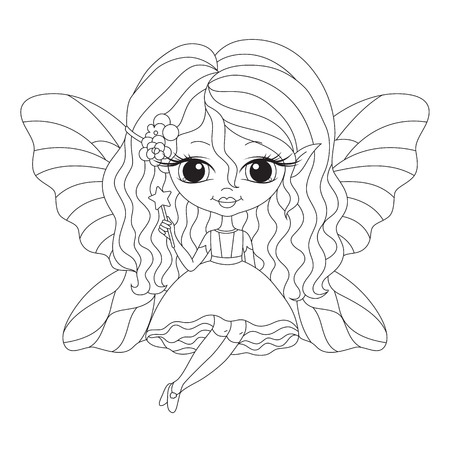 Outlined illustration of an adorable fairy. Vector coloring page. Ilustração