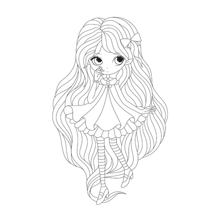 cute background: Coloring  book page - girl elf. Vector illustration isolated on white background.
