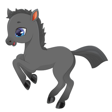 lllustration of a little pony (boy) on a white background. Vector.