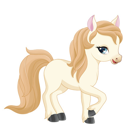 pony: lllustration of a little pony (girl) on a white background. Vector.